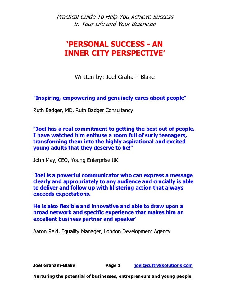 Personal Success An Inner City Perspective Ebook