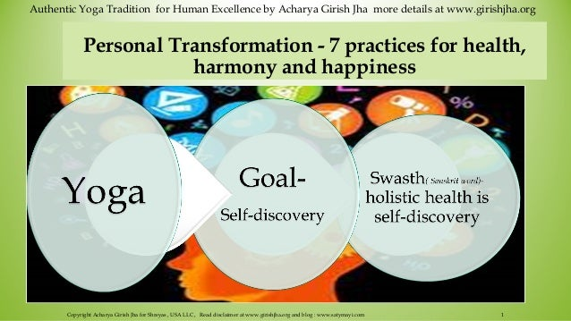 Personal transformation   7 practices for health,