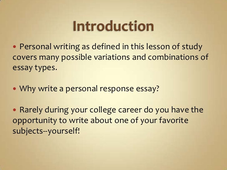 personal essay writing assignments