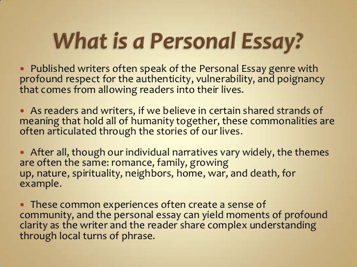 difference between personal and impersonal essay Creative non ction can be an essay, a journal article, a research paper, a memoir, or a poem it can be personal or one distinction between the personal and the public creative nonfiction is that the memoir is the writing in scenes represents the difference between showing and.