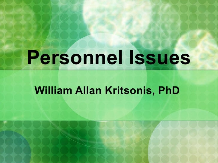 Personnel Issues (1) - Dr. W.A. Kritsonis