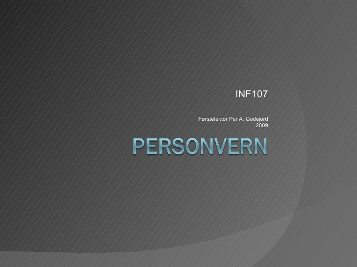 Personvern Inf107