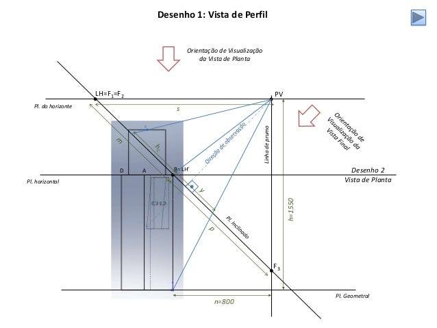 Pl. Geometral PV h=1550 n=800 Pl. do horizonte LH=F1=F2 A B= LH'D Linhadeprumo Pl. horizontal Desenho 2 Vista de Planta De...