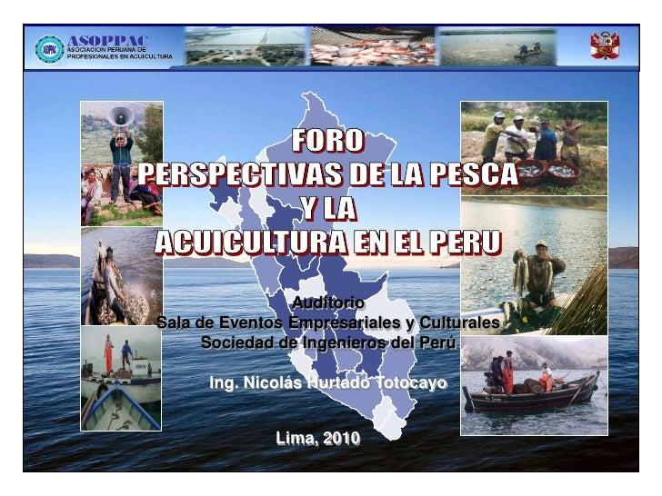 Perspectivas de la pesca y la acuicultura en el perú
