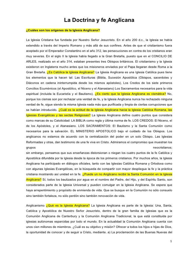 La Doctrina y fe Anglicana ¿Cuáles son los orígenes de la Iglesia Anglicana?   La Iglesia Cristiana fue fundada por Nuestr...