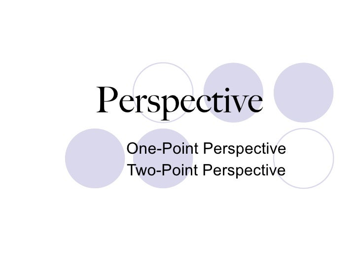Perspective One-Point Perspective Two-Point Perspective