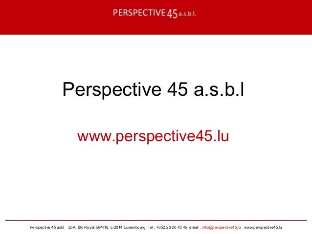 Perspective 45 asbl 25A, Bld Royal, BP418, L-2014 Luxembourg Tel : +352.26 20 43 45 email : info@perspective45.lu www.pers...