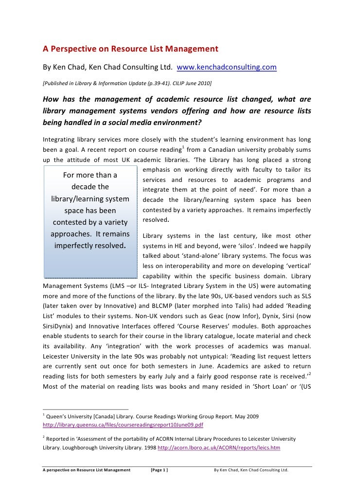 Perspective on resourcelist_manageemnt_cilip_update_june2010