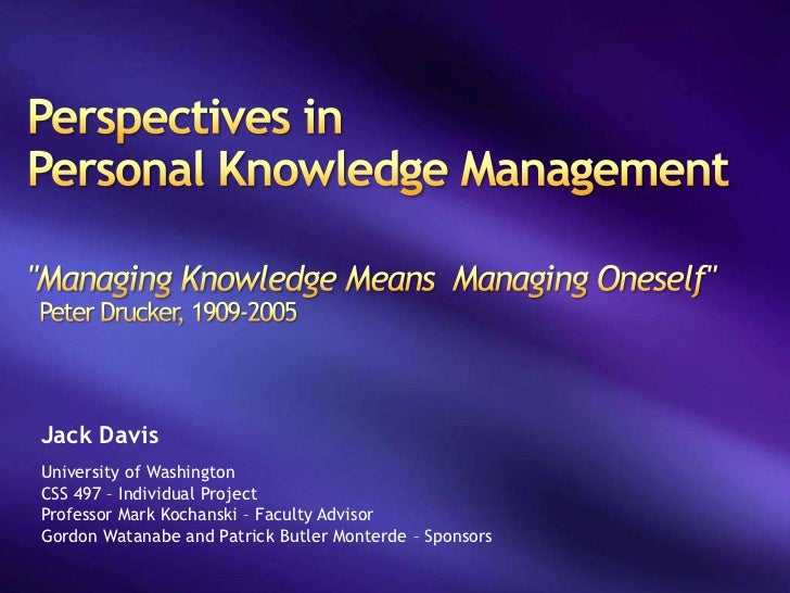 Perspectives in Personal Knowledge Management