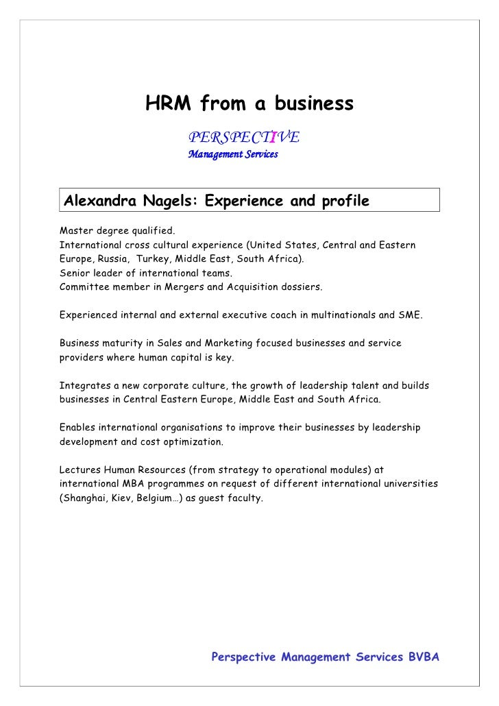 HRM from a business                            PERSPECTIVE                            Management Services    Alexandra Nag...