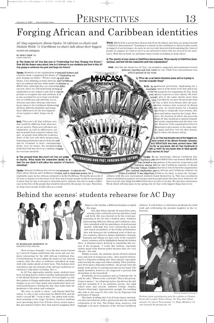 Perspectives 11.1.09:Layout 1          2/7/10      10:56 PM   Page 1           Forging African and Caribbean identities   ...