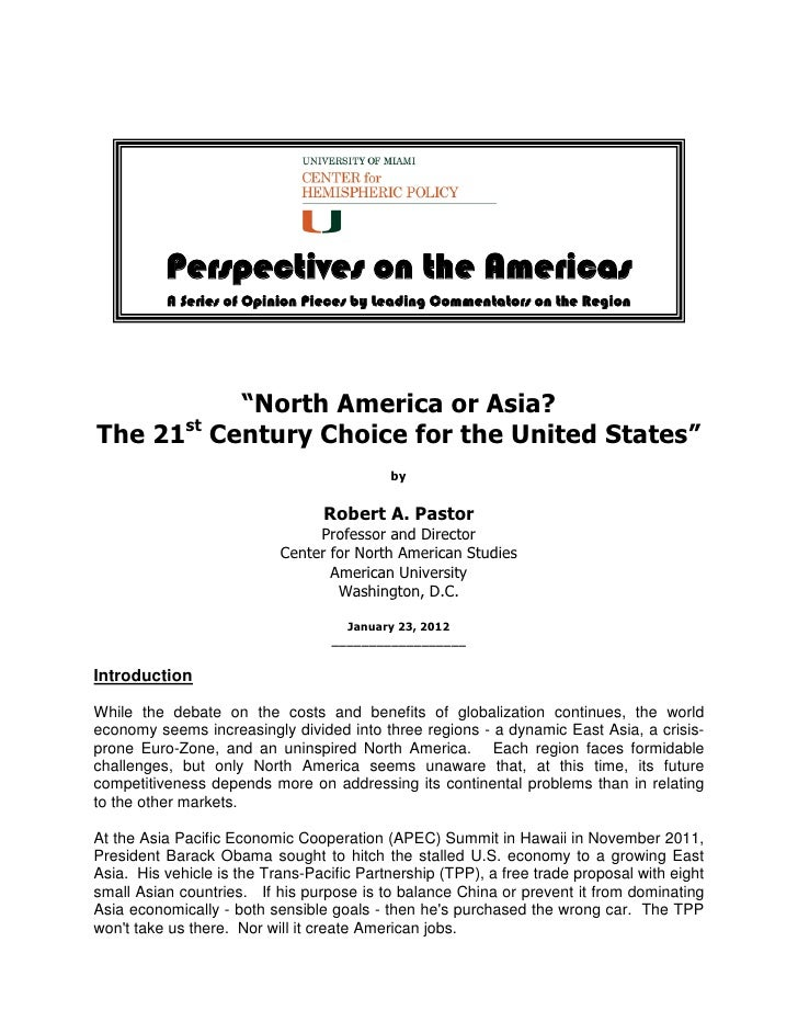 """Perspectives on the Americas          A Series of Opinion Pieces by Leading Commentators on the Region         """"North Amer..."""
