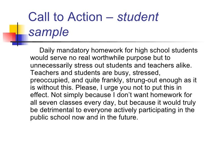 "call of action in a persuasive essay How to write a call to action statement  when learning how to write an essay like a persuasive essay, there is often a need for a ""call to action"" statement."