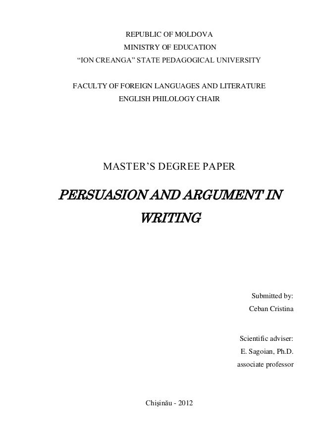 Persuasion and argument in writing