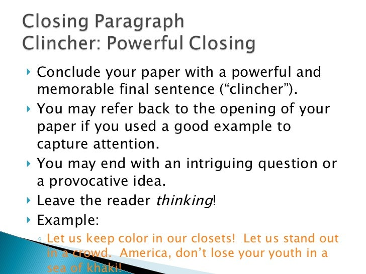 Clincher clincher examples for essays