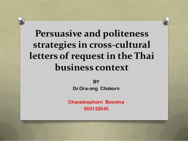 Persuasive and politeness strategies