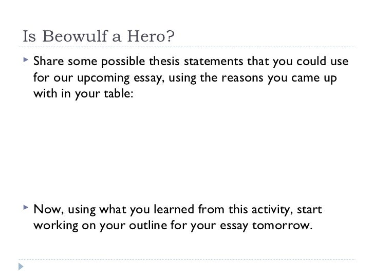 thesis statement for beowulf being a hero