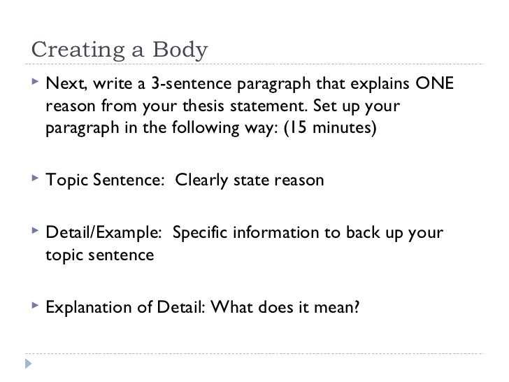 Write my example of topic sentence and thesis statement