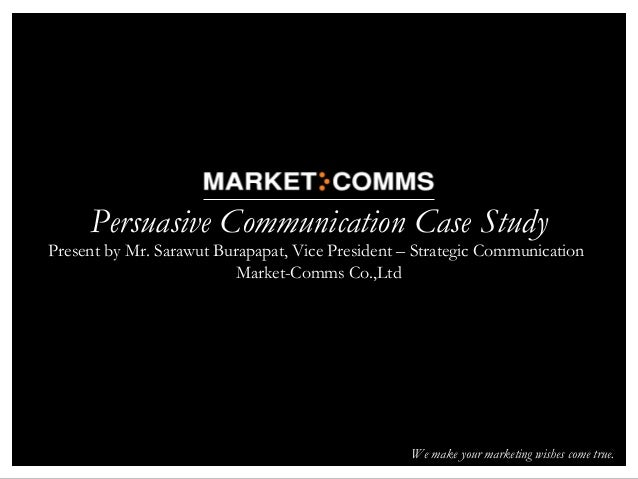 persuasive communication case of marekting It has been studied with respect to interpersonal communication, persuasion, politics, and its influence on mass media semiotics the extent to which various dimension of communication predicts measures of salience, relational or inter-family proximity the salience of marketing stimuli.