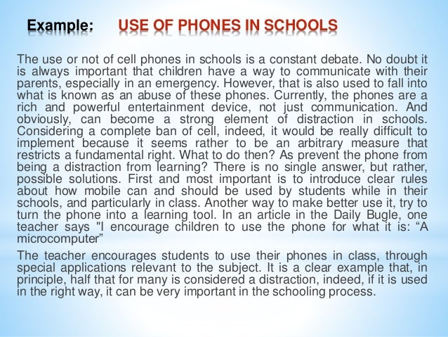 should cellphones be banned in school essay Listen to both sides of the debate to decide if cell phones should be allowed or banned in public schools.