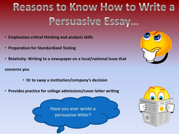 write persuasive essay thesis Free writing resources the persuasive essay the persuasive essay each one will take one reason from the thesis statement and offer proof that the reason is valid.