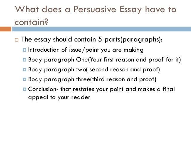 Parts of argumentative essay ppt