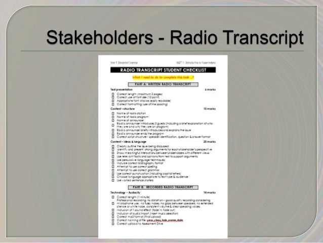 Year 8 Integrated Persuasive language resource for Stakeholders Radio Transcript