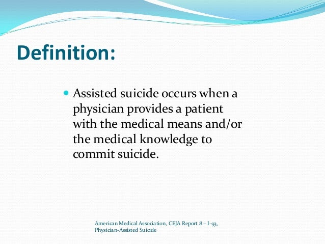 assisted suicide essay introduction Introduction the act of physician-assisted suicide (pas) is a controversial and vastly debated issue in current social and health care fields.