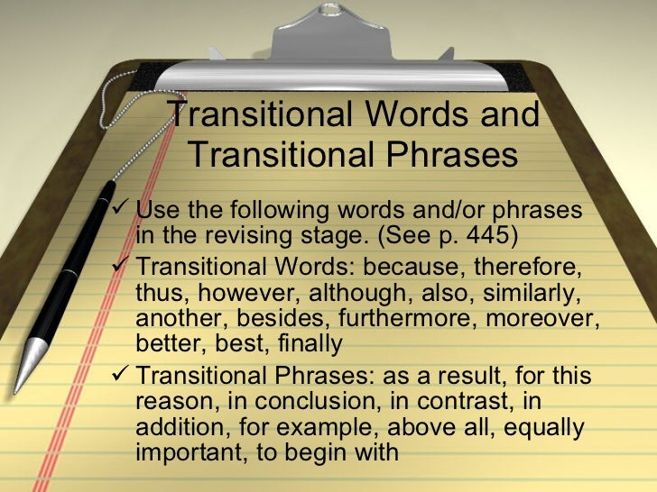 Can you give me a list of transition words??