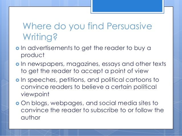 writing persuasive essays powerpoint A successful, persuasive presentation can completely change the trajectory of your career maybe you're an entrepreneur trying to convince a group of venture.