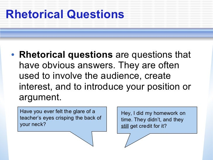Rhetorical questions in essays