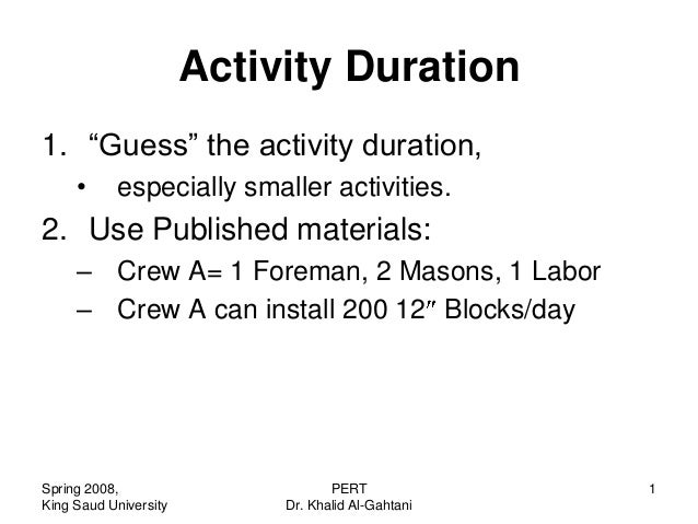 """Activity Duration1. """"Guess"""" the activity duration,     •      especially smaller activities.2. Use Published materials:   ..."""