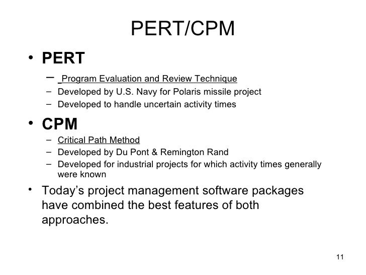using program evaluation and review technique The program evaluation and review technique (pert) is a network model that allows for randomness in activity completion times pert was developed in the late 1950's for the us navy's polaris project having thousands of contractors.