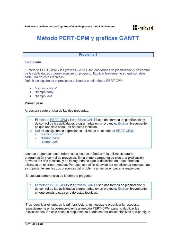 Problemas de Economía y Organización de Empresas (2º de Bachillerato)              Método PERT-CPM y gráficas GANTT       ...