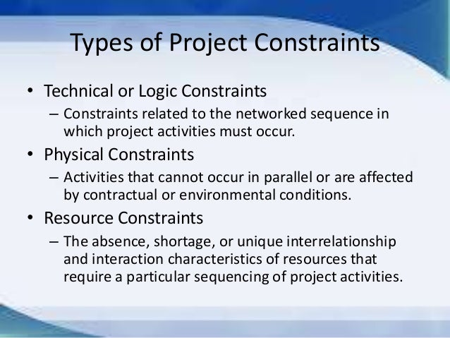 What does resource constraints mean?