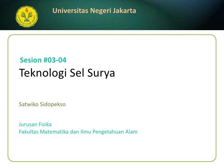 Teknologi Sel Surya (3 - 4)