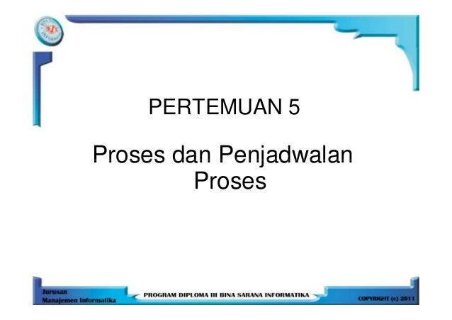 PERTEMUAN 5Proses dan Penjadwalan         Proses