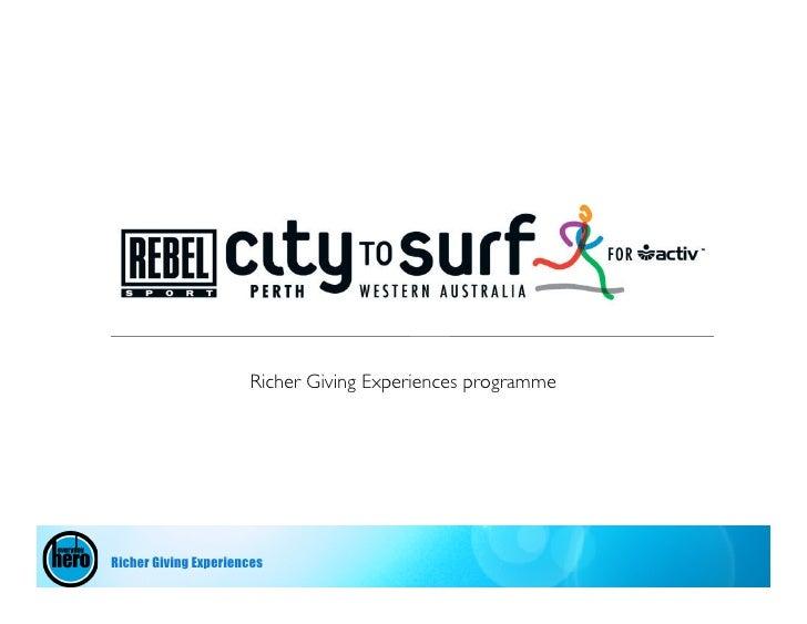 Richer Giving Experiences programme     Richer Giving Experiences