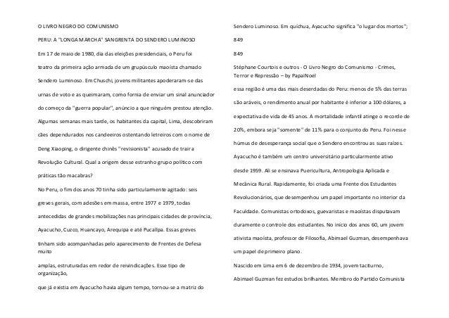 """O LIVRO NEGRO DO COMUNISMO  PERU: A """"LONGA MARCHA"""" SANGRENTA DO SENDERO LUMINOSO  Em 17 de maio de 1980, dia das eleições ..."""