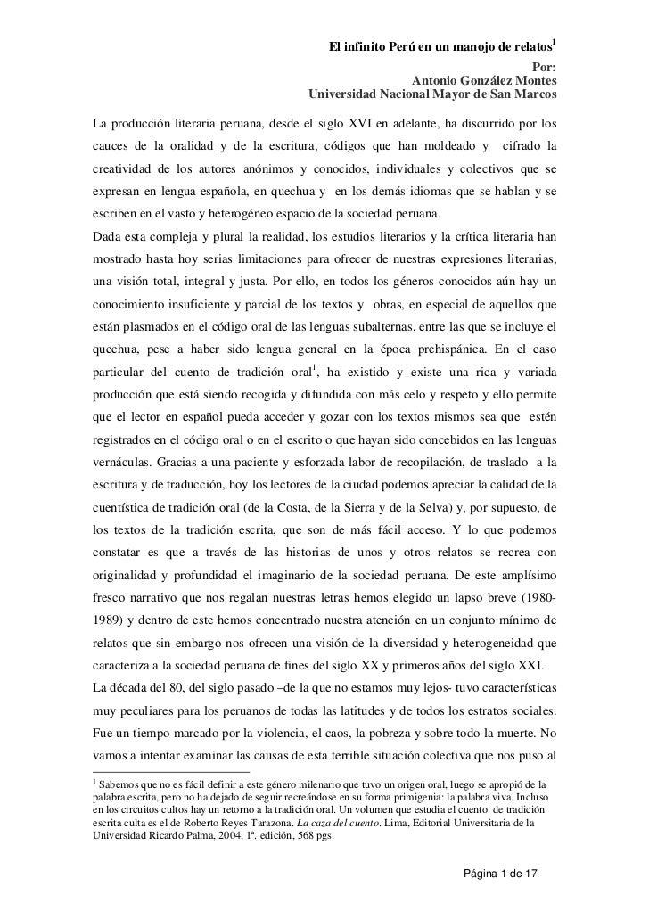 El infinito Perú en un manojo de relatos1                                                                                 ...