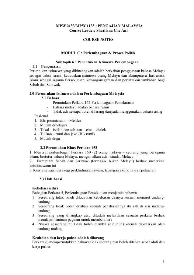 MPW 2133/MPW 1133 : PENGAJIAN MALAYSIA Course Leader: Sharliana Che Ani COURSE NOTES MODUL C : Perlembagaan & Proses Polit...