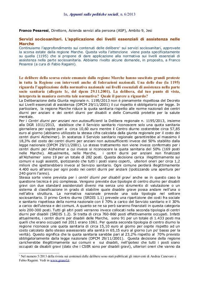 L'applicazione dei Livelli essenziali nei servizi sociosanitari delle Marche