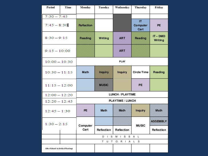 Class and PE Schedule