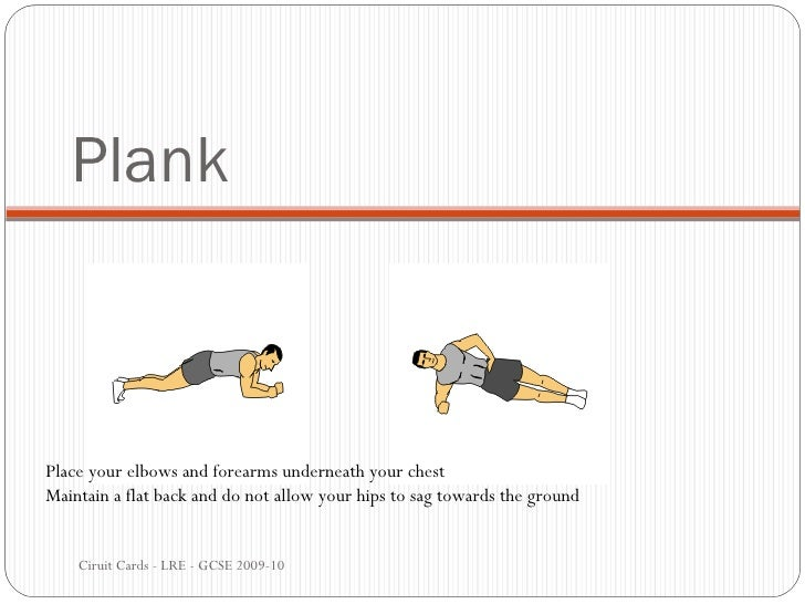 Plank Ciruit Cards - LRE - GCSE 2009-10 Place your elbows and forearms underneath your chest Maintain a flat back and do n...