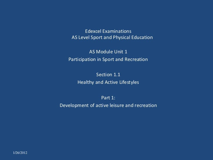 Edexcel Examinations                 AS Level Sport and Physical Education                          AS Module Unit 1      ...