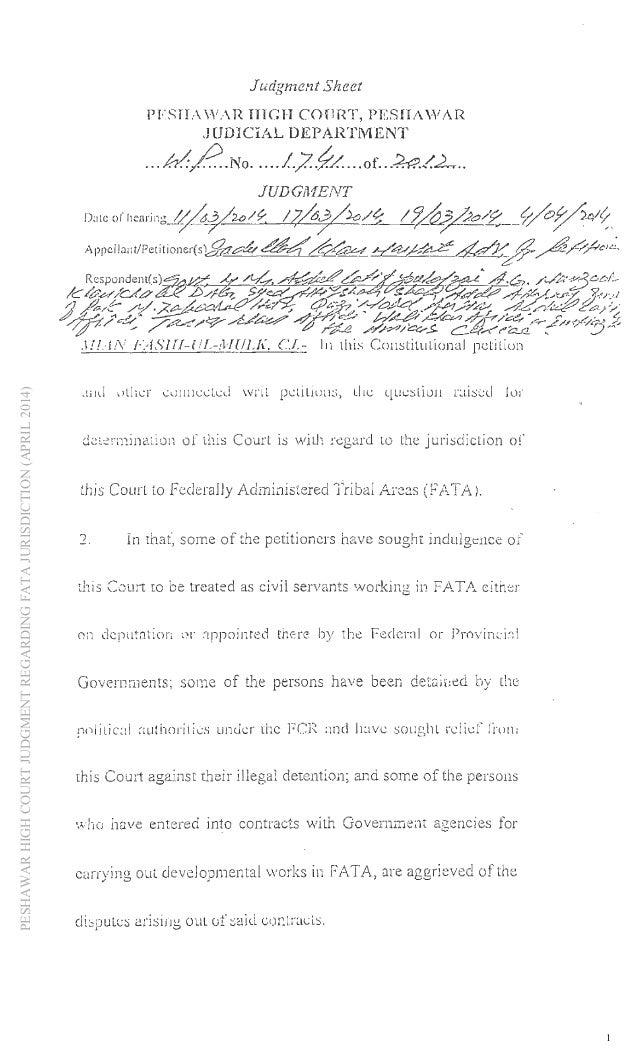 PESHAWARHIGHCOURTJUDGMENTREGARDINGFATAJURISDICTION(APRIL2014) 1