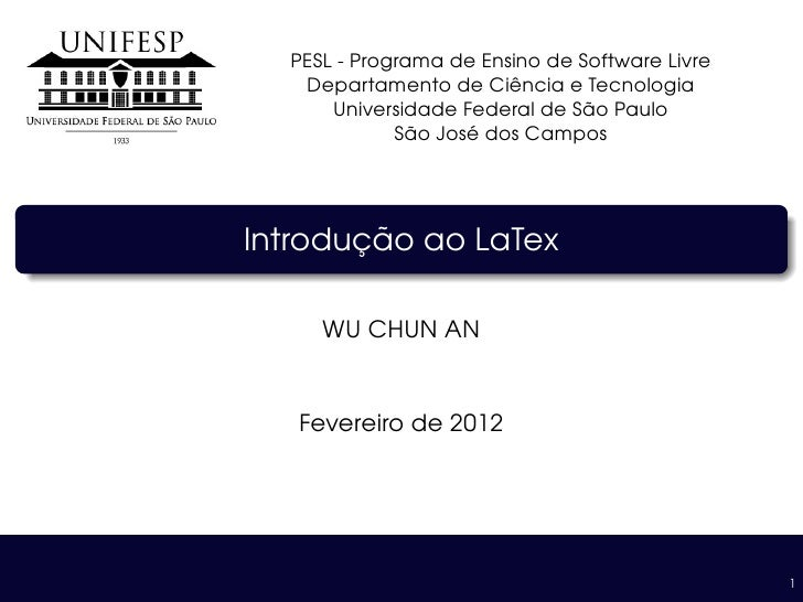 PESL - Programa de Ensino de Software Livre   Departamento de Ciˆ ncia e Tecnologia                        e              ...