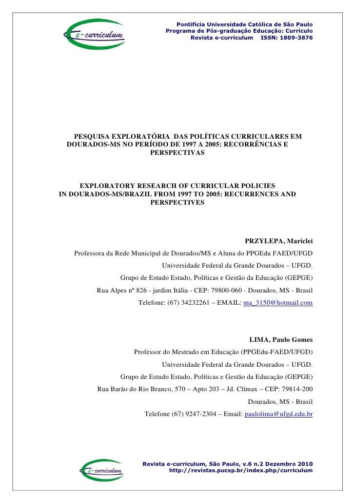 Pontifícia Universidade Católica de São Paulo                                 Programa de Pós-graduação Educação: Currícul...