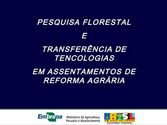 PESQUISA FLORESTALETRANSFERÊNCIA DETENCOLOGIASEM ASSENTAMENTOS DEREFORMA AGRÁRIA