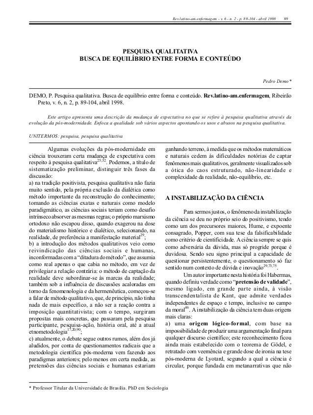 Rev.latino-am.enfermagem - v. 6 - n. 2 - p. 89-104 - abril 1998   89                                   PESQUISA QUALITATIV...